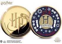 The Harry Potter Christmas Commemorative features a Hogwarts Christmas design on the reverse. Obverse features the Official Harry Potter logo. Struck to a Proof finish. Edition Limit: 2,020
