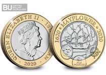 This £2 has been issued by the Isle of Man to mark the 400th anniversary of the Mayflower's pioneering voyage.