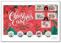 Your Christmas Carol Ultimate Silver 50p Coin Cover presents all five Guernsey 2020 Christmas Carol Silver Proof 50p coins in full colour, alongside Royal Mail's 1982 Christmas Carol 5v stamps.