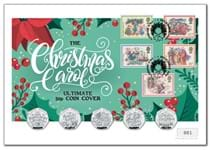 Your Christmas Carol Ultimate 50p Coin Cover presents all five Guernsey 2020 Christmas Carol 50p coins alongside Royal Mail's 1982 Christmas Carol 5v stamps.