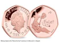 This coin is the official Piglet 50p issued by The Royal Mint. It has been struck from 22 carat gold to a proof finish. Comes in Royal Mint presentation box with certificate of authenticity. EL 525.