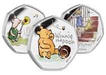 This collection include all three 2020 Winnie the Pooh Silver Proof 50ps from The Royal Mint. Each coin comes in its original packaging with certificate of authenticity. EL of each coin is 18,000.