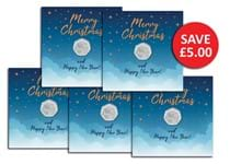 This new Christmas Card displays the 2020 Hark the Herald Angels Sing 50p coin which is encapsulated wuthin the card to protect its superior quality. You can now secure a 5 of these in a bundle.