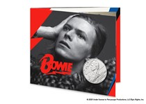 This pack features the official David Bowie £5 coin issued by The Royal Mint. It has been struck to a Brilliant Uncirculated finish and comes presented in bespoke Royal Mint presentation pack.