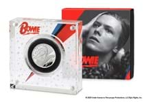 The official David Bowie £1 coin issued by The Royal Mint. Struck from half an ounce of silver to a proof finish. Comes in a Royal Mint presentation box with numbered certificate of authenticity.