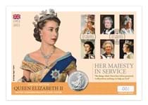 Your Her Majesty in Service 2021 Silver Coin cover features the UK 2021 1oz Silver Britannia, alongside Royal Mail's 2013 Six Decades of Royal Portraits 6v stamps. Postmarked 1st January 2021.