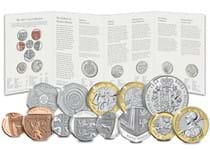 This 2021 Annual Coin Set issued by the Royal Mint consists of the 8 definitive coins struck to a Brilliant Uncirculated finish and the 5 new commemorative coins issued for 2021. 13 coins in total.