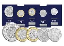 The 2021 Commemorative Coin Pack includes: Decimalisation 50th Anniversary 50p, John Logie Baird 50p, Sir Walter Scoot £2, Queen Elizabeth II 95th Birthday £5 and HG Wells £2, all in BU quality.