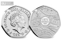 This 50p has been issued to mark the 50th Anniversary of Decimalisation. This 50p has been protectively encapsulated and certified as Brilliant Uncirculated quality.