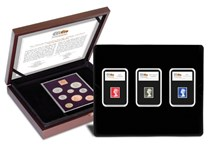 This collection includes a 1970 Proof set, featuring pre-decimal coins. It is set alongside a selection of High Value Machin Decimal stamps.