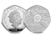This 50p has been issued by The Royal Mint to mark the 50th anniversary of Decimal Day. It is struck from .925 silver to a proof finish and comes presented in a bespoke Royal Mint presentation case.