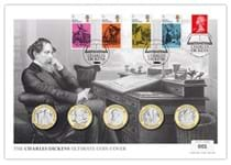 The Charles Dickens Ultimate Coin Cover features the Jersey 2020 Charles Dickens £2 BU coins alongside a Royal Mail First Class stamp and the Literary Anniversary 4v stamps.