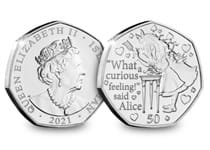 Issued in 2020 to celebrate the 150th anniversary of Lewis Carroll's sequel to Alice in Wonderland bring published. This coin features an illustration of Alice and quote from the first Alice book.