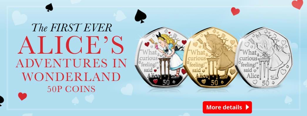 The First Ever Alice's Adventures in Wonderland 50p Coins