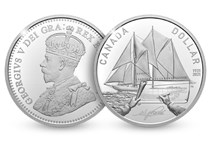 This 2021 Canada Silver Proof dollar has been issued by the Royal Canadian Mint in order to commemorate the 100th Anniversary of the launch of Bluenose. The design includes image of Bluenose.