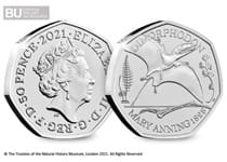 This 50p is the 3rd coin to be released in the Mary Anning 50p Collection.  It features a design of the Dimorphodon and is certified as super Brilliant Uncirculated quality.