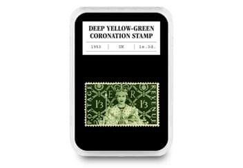LS-UK-1953-Coronation-yellow-green-stamp-in-everslab-(coronation-coin-and-stamp-set).jpg