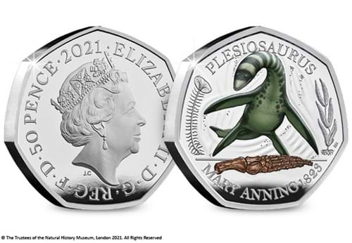 DN-2021-Dinosaurs-Mary-Anning-Collection-Plesiosaurus-BU-silver-with-colour-silver-gold-50p-coin-product-images-obv-rev.jpg