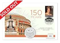The 2021 Royal Albert Hall Coin Cover featuring the new UK 2021 Royal Albert Hall £5 coin issued by The Royal Mint alongside the official GB Queen Victoria Stamp and an official postmark.