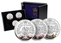 Your Queen's 95th Birthday £5 Trio Set features 3 coins struck from .925 Silver to a Proof finish. The coins are minted in Jersey, Guernsey and Isle of Man.