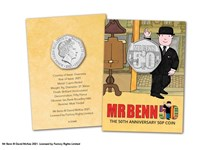 2021 marks the 50th Anniversary of the Mr Benn TV series. A 50p coin has been authorised for release by Guernsey featuring Mr Benn alongside a '50' for the anniversary. Presented in blister card.
