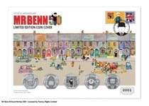 The Mr Benn 50th Anniversary Ultimate BU Cover features all five of the 2021 Mr Benn 50p Coins, on a specially designed cover. Features a Royal Mail stamp and smiler. Postmarked on 01.04.21. EL: 495.