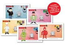 The Mr Benn Complete Cover Collection features all 5 2021 Mr Benn 50ps each on an individually designed covers with Royal Mail stamps and adjoining smilers. Postmarked 01.04.21. EL: 495