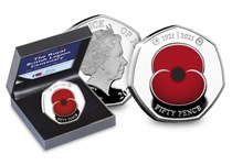 Your RBL Centenary Poppy Silver Proof 50p set features the modern day Poppy and has been struck from .925 Silver with selective colour printing. Mark 100 years of the Royal British Legion.