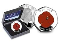 Your RBL Centenary Heritage Silver Proof 50p set features the the original Poppy design has been struck from .925 Silver with selective colour printing.