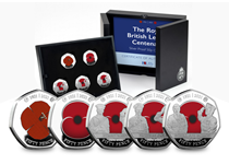 Your RBL Centenary 50p Set is features 5 coins struck from .925 Silver to a Proof finish. The reverse of the coins features designs of the Remembrance Poppy and Armed Forces Officers in full colour.