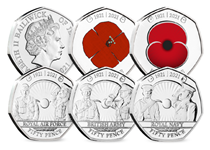 Your RBL Centenary BU 50p set features 5 brand new Jersey 50p coins - 2 of which present the modern day Poppy and the 1921 Poppy in full colour. The other 3 coins feature intricate designs