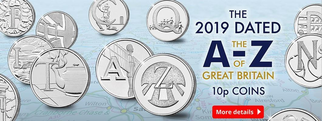 The 2019 Dated The A-Z of Great Britain 10p Coins