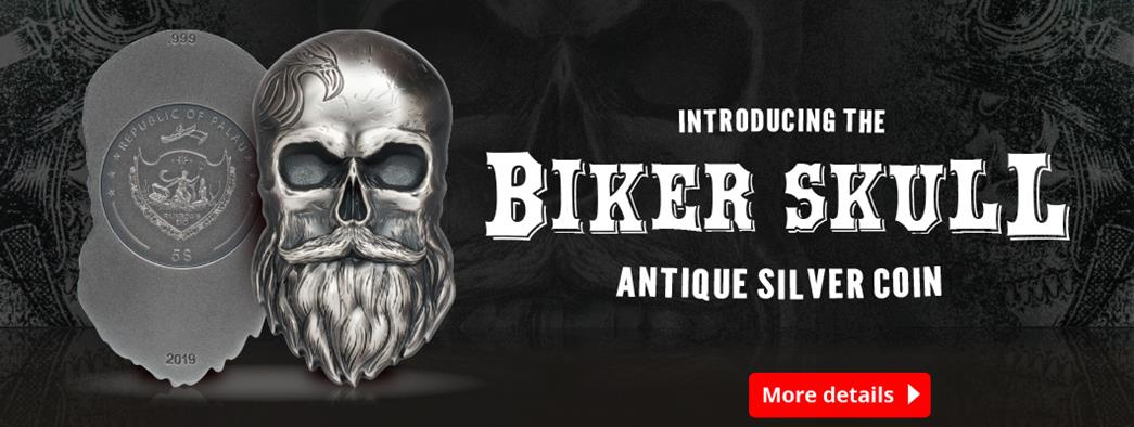 Introducing the Biker Skull Antique Silver Coin