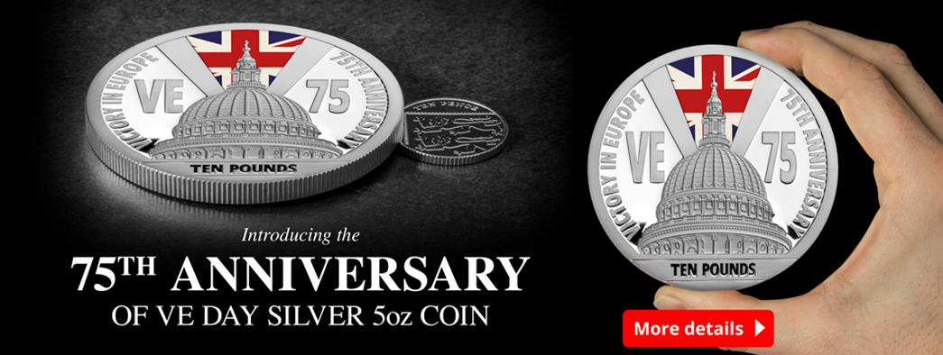 Mark the 75th Anniversary of VE Day with this stunning Silver 5oz coin