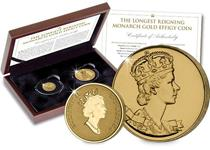 Issued by the Royal Canadian Mint this gold proof coin features the 1990 effigy of Queen Elizabeth II. It is completed with a 1953 gold plated Canadian medal issued for Her Majesty's II coronation.