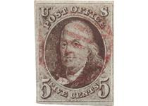 The First Ever United States stamp. Issued in 1847, this 5 cent stamp featured a portrait of Benjamin Franklin and was the first prepaid postage stamp in the United States.