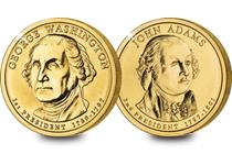 This set contains two Dollar Coins minted in 2007 and featuring presidents Washington and Adams. Each coin is plated in 24 carat Gold, and the set comes with its own Certificate of Authenticity.