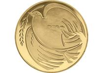 Issued in 1995 to mark 50 years since the end of World War 2. Reverse design features a depiction of a Dove as a symbol of peace. This is an older nickel-brass £2 which is no longer in circulation.
