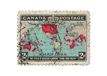 Issued by Canada in 1898, this stamp is acknowledged among philatelists as being the First Christmas stamp in the world. It features a map of the world with the British Empire highlighted in red.