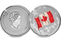 Issued by The Royal Canadian Mint, this 2015 $25 for $25 fine silver coin commemorates the 50th anniversary of the National Flag.