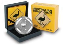 Issued by the Royal Australian Mint, this 2015 Silver 1oz $1 Emu Road Sign Coin features an artist's impression of the internationally recognised road sign. Struck in Silver with a frosted finish.