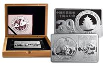 Your 30th Anniversary of China Panda Silver Coin features the 2013 China Panda coin set in a commemorative premium silver bar. The coin weighs 1oz and the bar 2oz. Both struck in 999/1000 Silver.