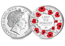This Silver Proof coin has been struck to commemorate Remembrance Day. Features a poppy wreath selectively printed with Red Ink struck in nearly 1oz of solid Sterling Silver.