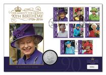 Issued for the anniversary of QEII's accession in the year she celebrates her 90th birthday. Features 8 official Isle of Man 'Long the Reign Over Us' stamps & a brand newsilver-plated medal.