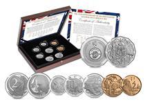 This exclusive limited edition Australian Set celebrates the 50th anniversary of Decimal Currency. The Set features 6 coins from the Royal Australian Mint and completed by 2 coins from the Perth Mint.