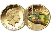 This coin has been issued by Guernsey to commemorate the centenary since the first use of a tank in battle. Plated in 24ct Gold the reverse design features the iconic WWI Mk I Tank - in full colour.
