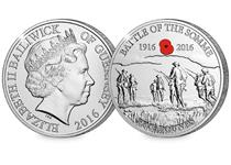 This coin has been issued by Guernsey to commemorate the centenary since the Battle of the Somme. Features an elegant engraving of soliders going 'over the top' and an engraving of the RBL poppy.