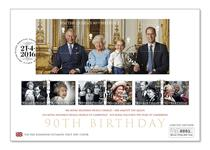First Day Cover issued in celebration of the Queen's Birthday. Features ALL 6 90th Birthday Stamps and Miniature Sheet from Royal Mail. Postmarked on the first day of issue (21/04/16).