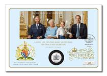 This cover has been issued in celebration of the Queen's Birthday. Features the official UK Birthday Miniature Sheet, alongside the 90th Birthday Silver 'Smartminting' Coin. Secure yours today.