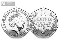 This is the highly anticipated Beatrix Potter 'portrait' 50p, the first coin in the Beatrix Potter 5 coin series released in 2016.
